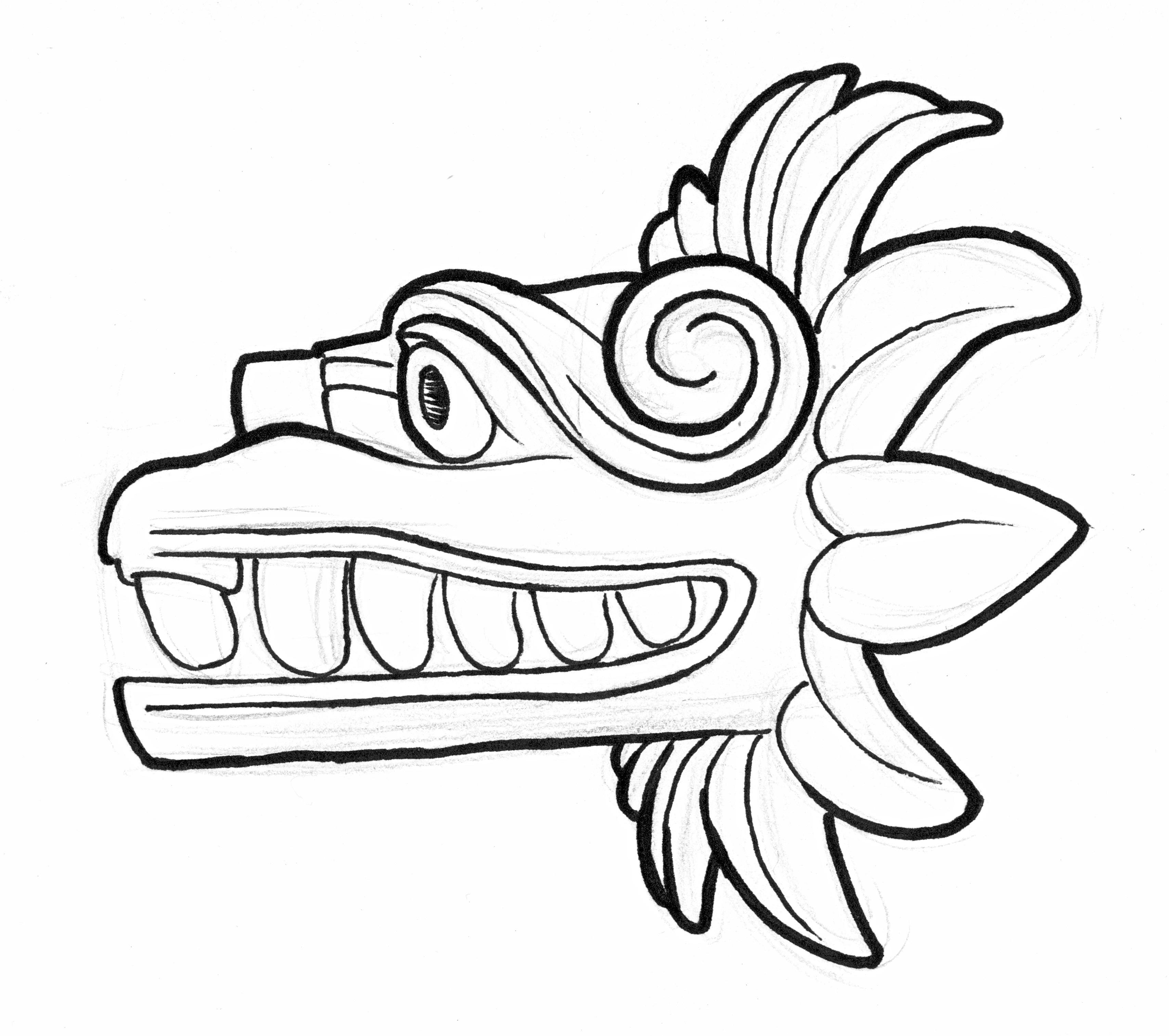 Aztec clipart drawing. Serpent at getdrawings com