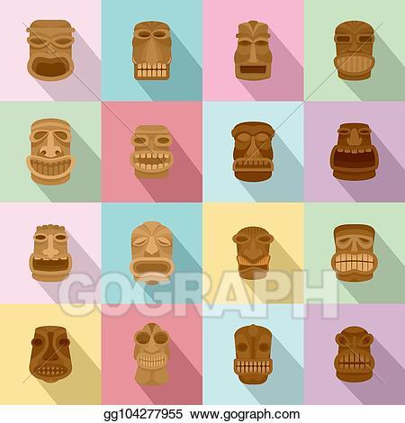 Aztec clipart face. Vector art tiki idol