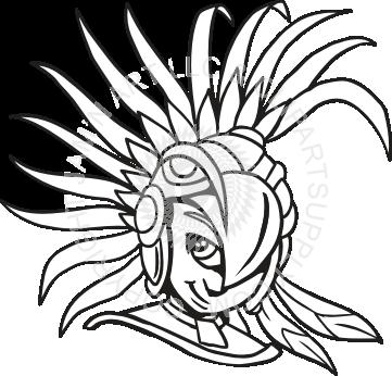 Warrior child . Aztec clipart face