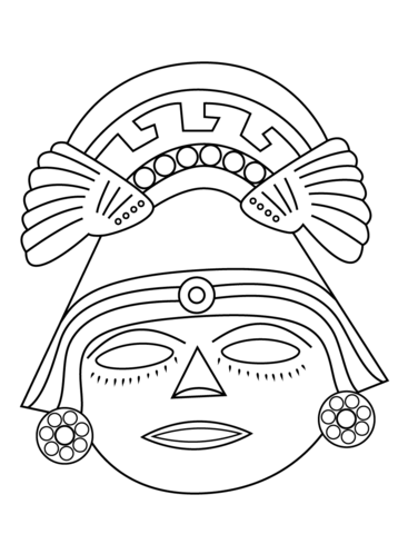 Mask coloring page from. Aztec clipart face