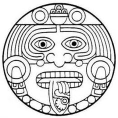 Aztec clipart face. God tattoo and maya