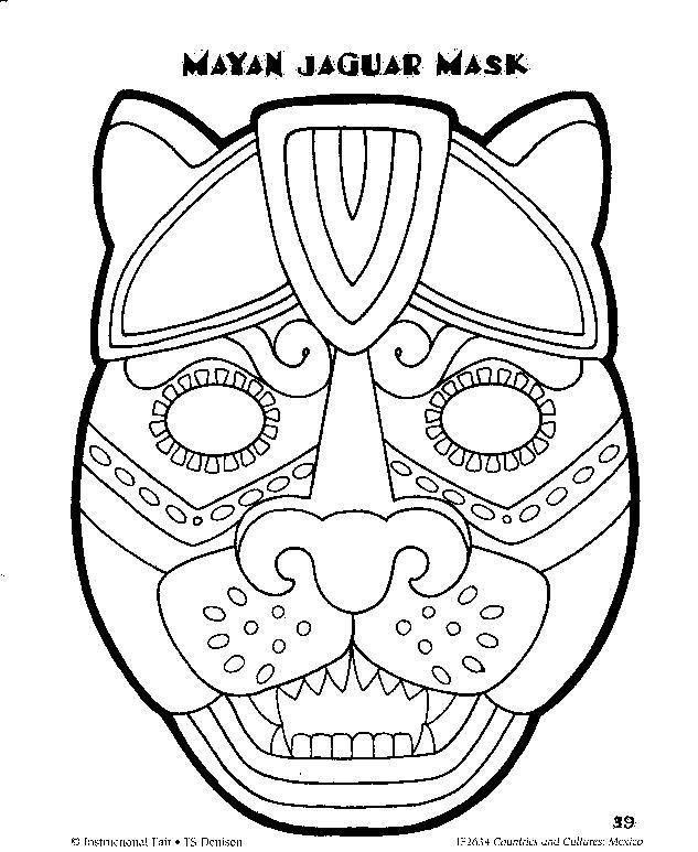 Mayan mask template google. Aztec clipart face