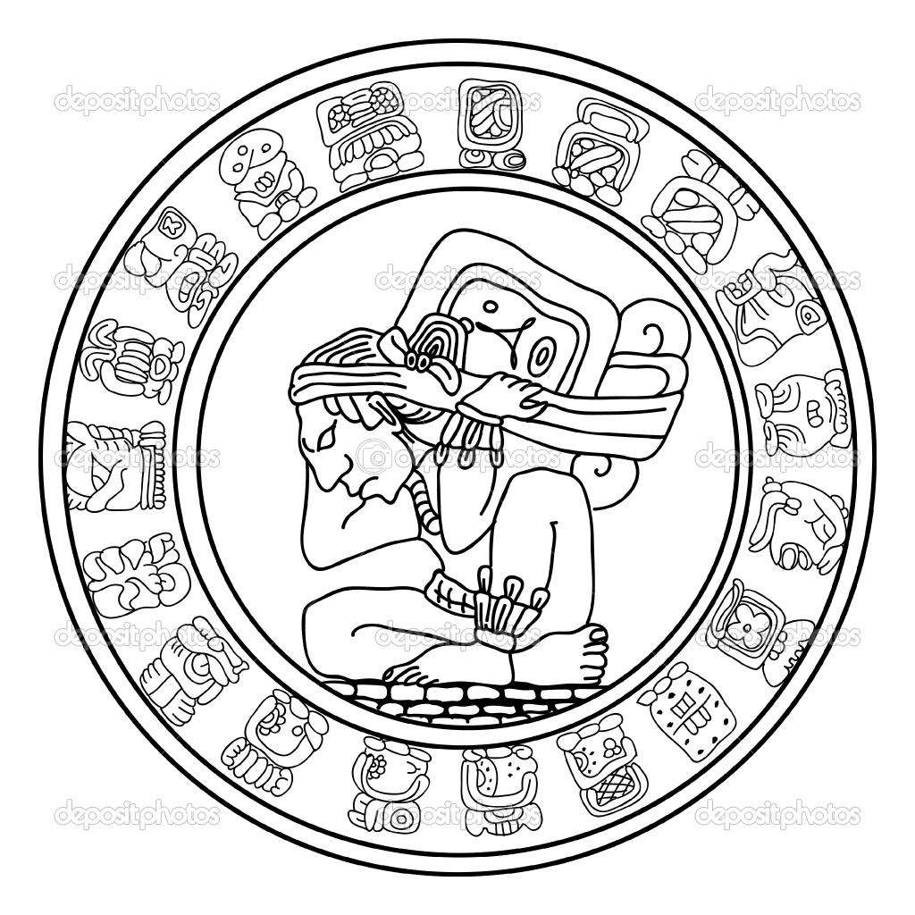 Calendar drawing at getdrawings. Aztec clipart line