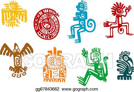 Aztec clipart maya. Vector illustration abstract and