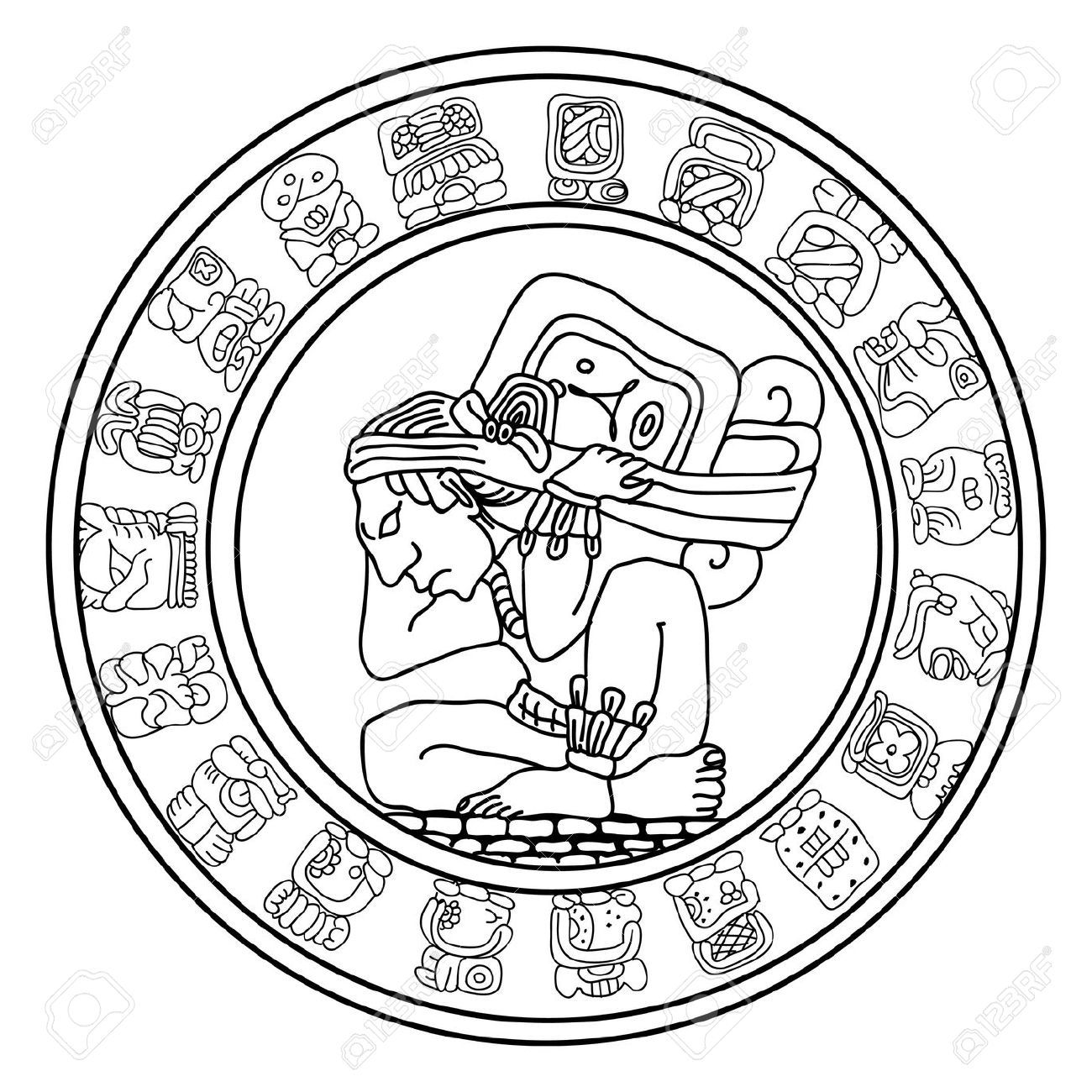 Simbolo royalty free vettori. Aztec clipart maya