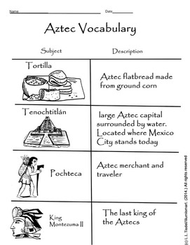 Visual vocabulary worksheet bonus. Aztec clipart montezuma