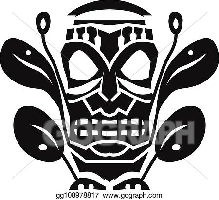 Eps illustration tribal mask. Aztec clipart simple