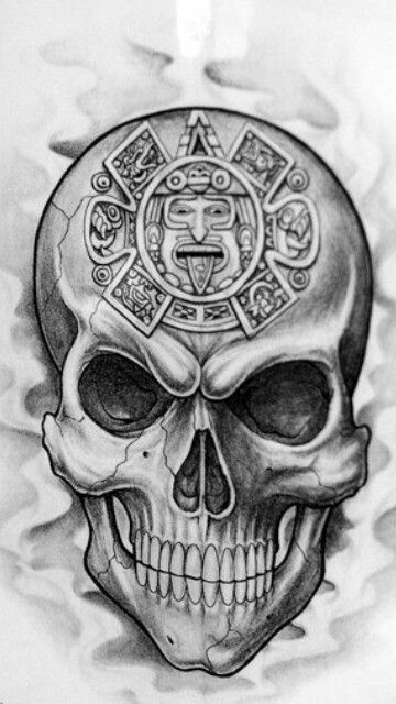 Aztec clipart skull. With calendar skulls skeletons
