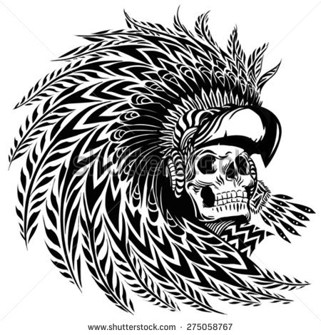 collection of black. Aztec clipart skull