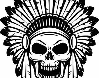 American indian native warrior. Aztec clipart skull