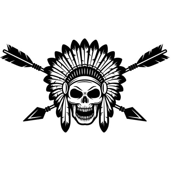 Aztec clipart skull. Indian logo native american