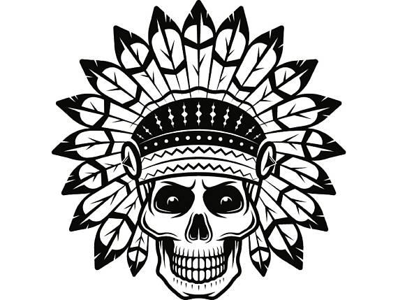 Indian native american warrior. Aztec clipart skull