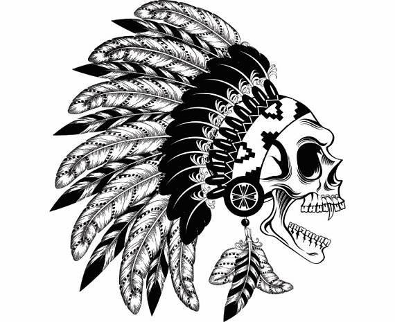 Aztec clipart skull. Indian native american warrior
