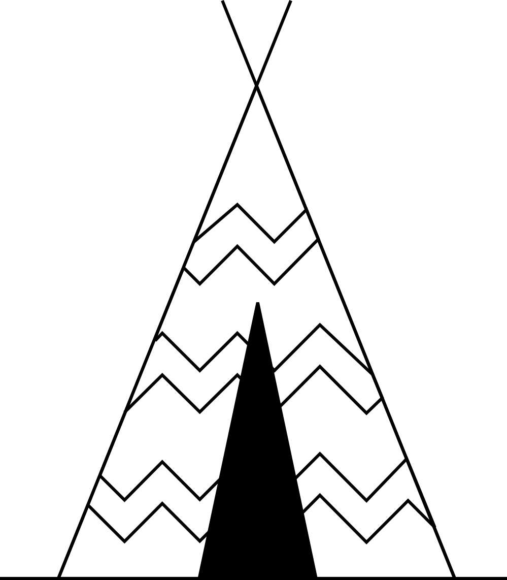Teepee letters format. Clipart tent black and white