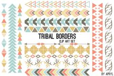 Pattern borders in pastel. Aztec clipart tribal print