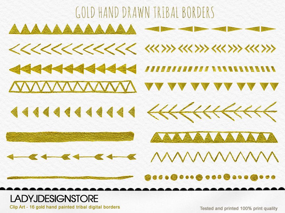 Gold hand drawn digital. Aztec clipart tribal print