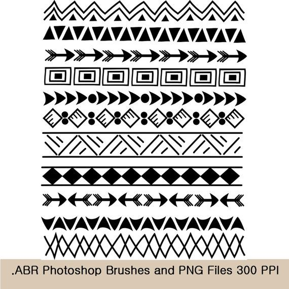 Photoshop brushes and clip. Aztec clipart tribal print