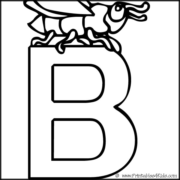 Letter printables for kids. B clipart alphabet coloring page