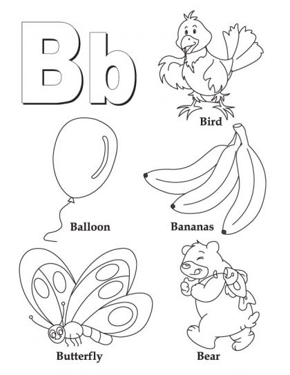 My a to z. B clipart alphabet coloring page