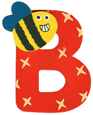 B clipart animal alphabet letter.  painted scrapbooking craft