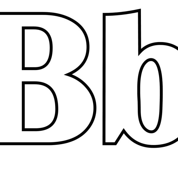 Classic letter coloring page. B clipart black and white