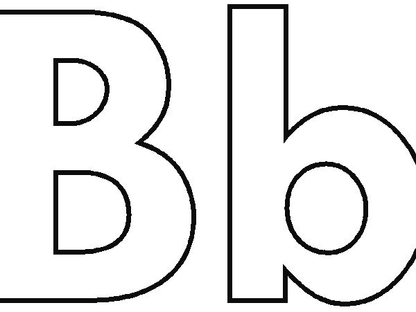 B clipart black and white. Wonderful letter coloring page