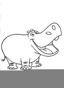 B clipart black and white. Hippo free images at