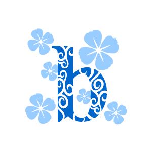 Flower alphabet with white. B clipart blue