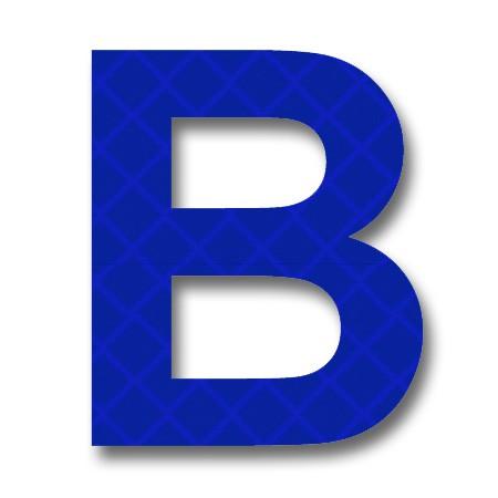 Afterglow retroreflective inch letter. B clipart blue