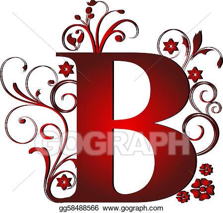 Clip art red stock. B clipart capital letter