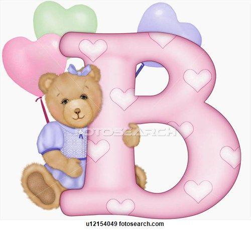 The with teddy bear. B clipart capital letter