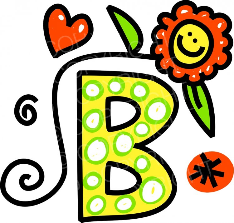 B clipart cartoon. Whimsical alphabet letter prawny