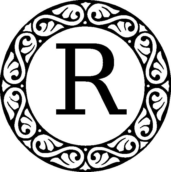 Monogram letter clip art. R clipart decorative
