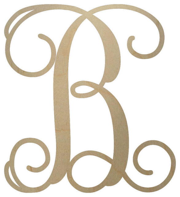 B clipart circle monogram. Unfinished wooden letter contemporary
