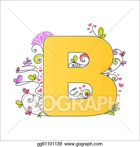 B clipart colorful. Vector art floral alphabet