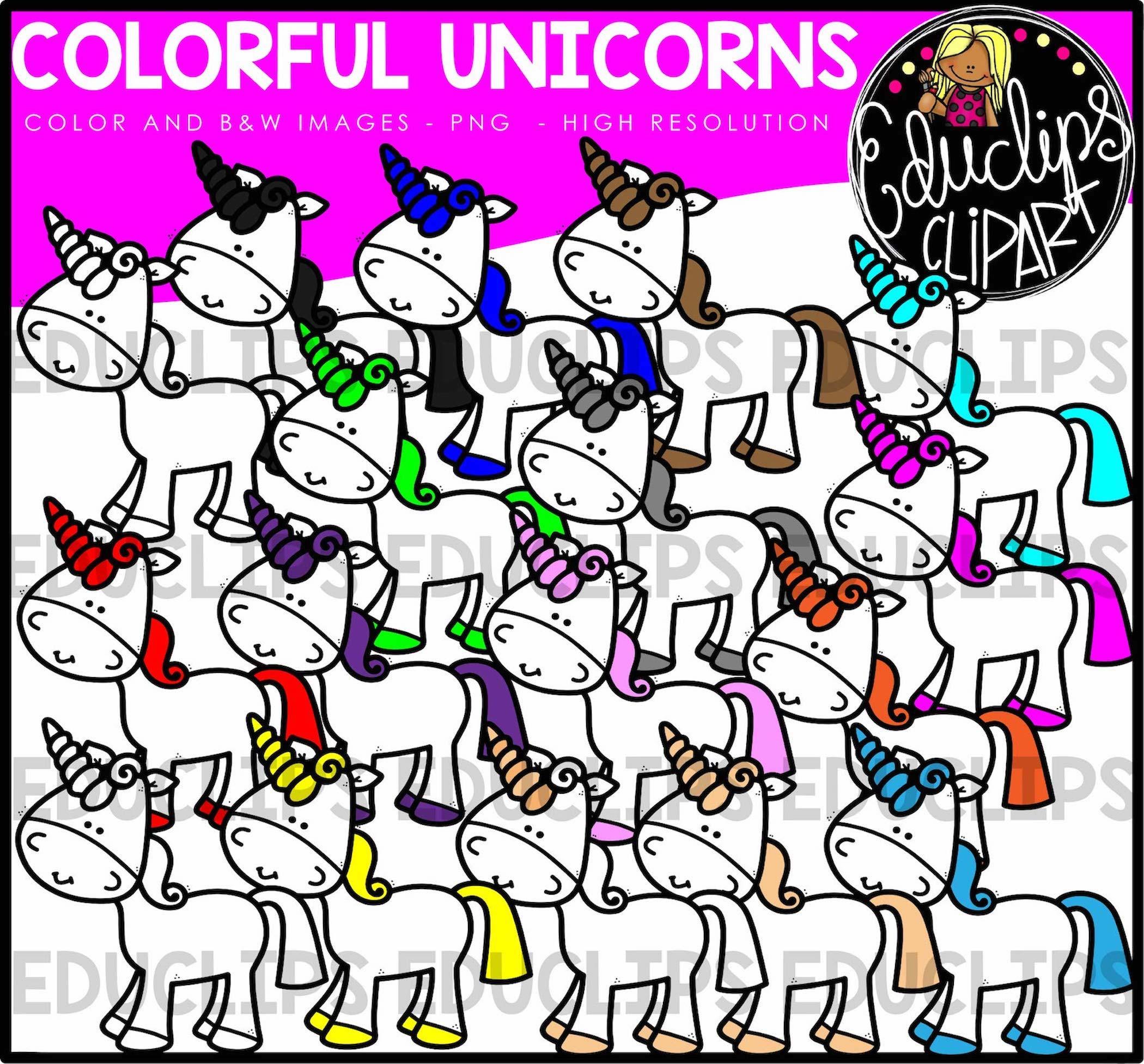 Unicorns clip art bundle. B clipart colorful