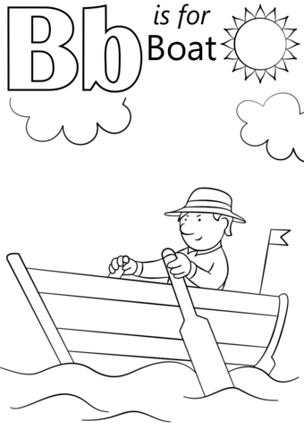 B clipart colouring. Letter is for boat