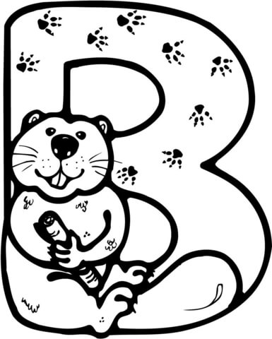 B clipart colouring. Letter is for beaver