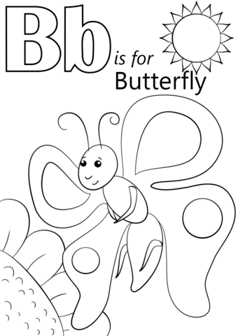 B clipart colouring. Letter is for butterfly