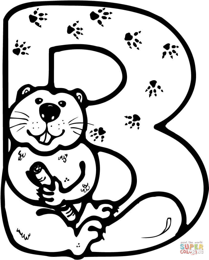 Letter is for beaver. B clipart colouring