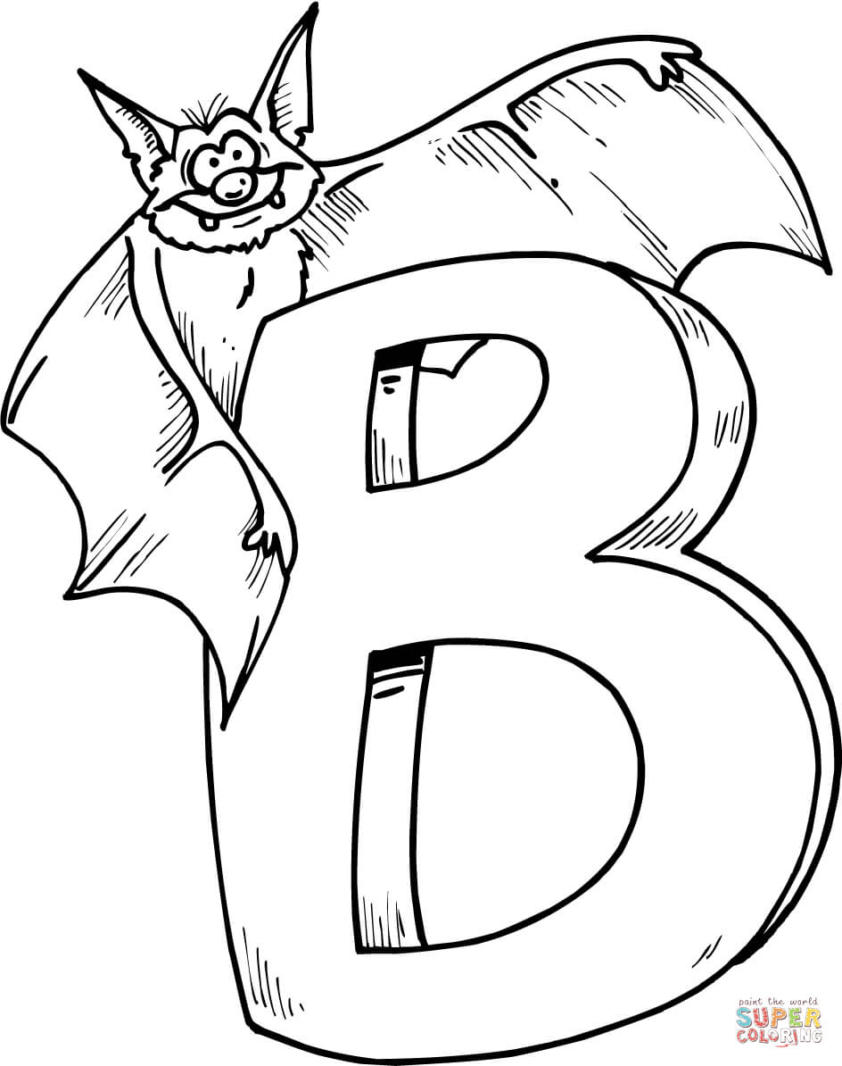Letter coloring pages free. B clipart colouring