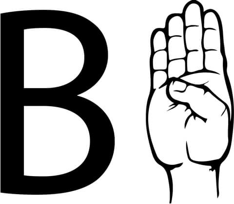 Asl sign language letter. B clipart colouring