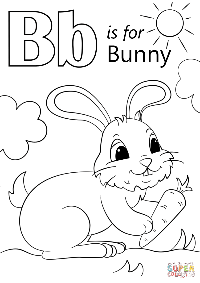 B clipart colouring. Letter is for bunny