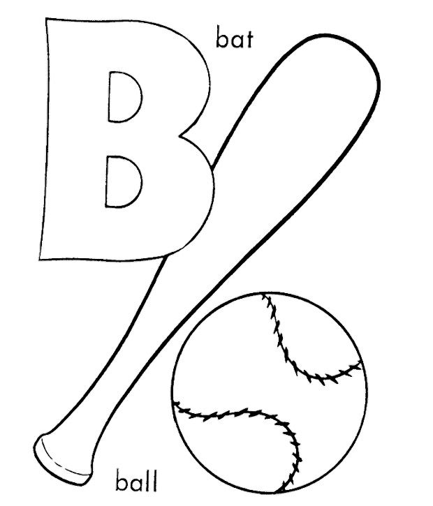 For baseball coloring pages. B clipart colouring