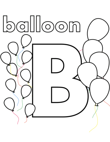 Is for balloon coloring. B clipart colouring