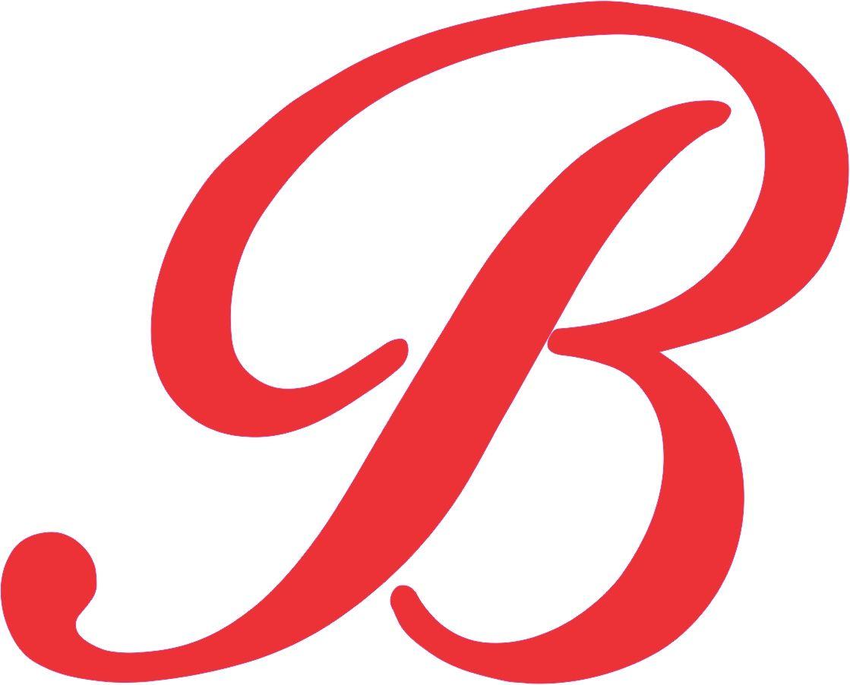 in x red. B clipart cursive