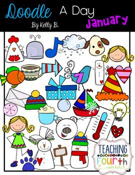 A day january by. B clipart doodle