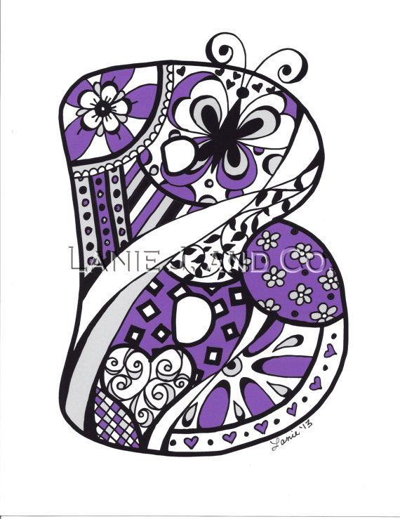 Colorful custom hand drawn. B clipart doodle