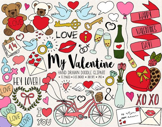 hand drawn valentines. B clipart doodle