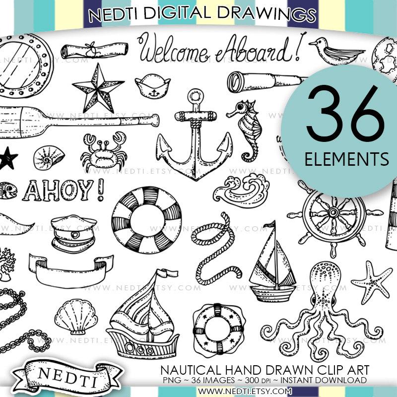 BEST SELLER Nautical Doodle Clip Art Anchor Clipart Lineart